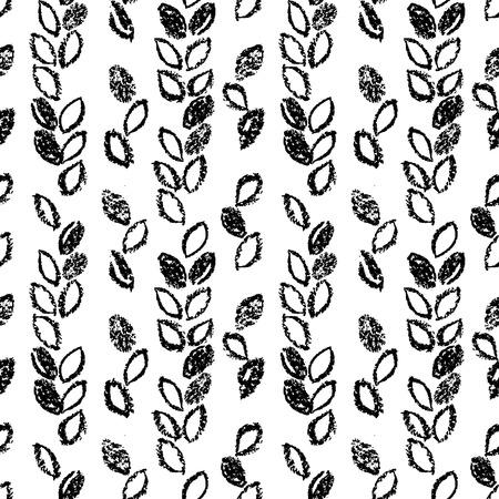 Abstract seamless hand drawn pattern. Monochrome wax crayon drawn background. Modern grunge texture. Vectores