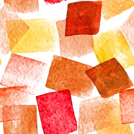 Seamless vector pattern with hand drawn watercolor square strokes. Naive background with spots. Vector seamless background with artistic motif.
