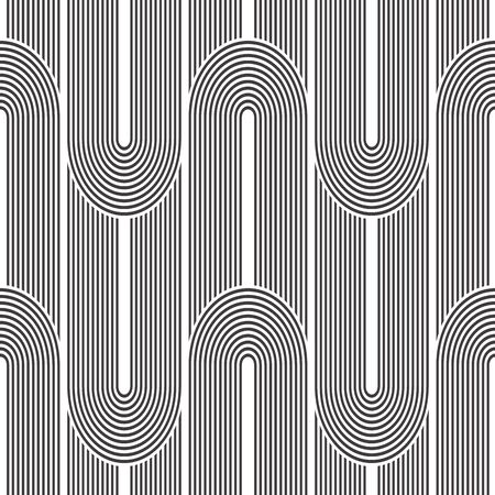 Seamless geometric pattern. Geometric simple print. Vector repeating texture. Monochromatic linear background. Retro motif graphic texture. Vectores