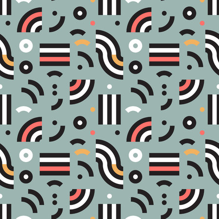 Memphis seamless pattern in retro style. Vector geometric background. Modern 80s style colorful texture.
