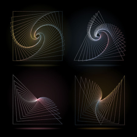 Abstract geometric composition of dotted line symbols on black background.