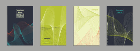 Minimal covers design. Geometric linear shapes. Eps10 vector. Four A4 size backgrounds with abstract minimalistic motif.
