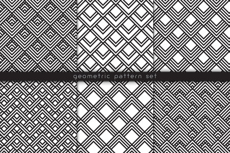 Vector seamless pattern set. Abstract geometric backgrounds with zigzag motifs. Wallpaper, cloth design, fabric, paper, cover, textile. Monochrome linear repeatable texture set.