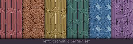 Conjunto de patrones geométricos sin fisuras. Impresiones geométricas simples. Vector repitiendo texturas. Fondos lineales. Texturas gráficas con motivos retro con motivos gráficos de los años 80 Colección repetición de colores de fondo. Vectores