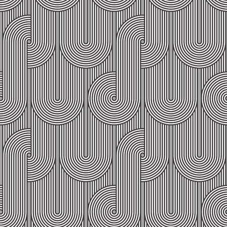 Seamless geometric pattern. Geometric simple print. Vector repeating texture. Linear background. Retro motif graphic texture. 80s style background with concentric circles and lines overlapping.