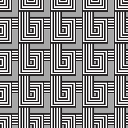 Seamless geometric pattern. Geometric simple print. Vector repeating texture. Monochromatic linear background. Meander motif graphic texture.