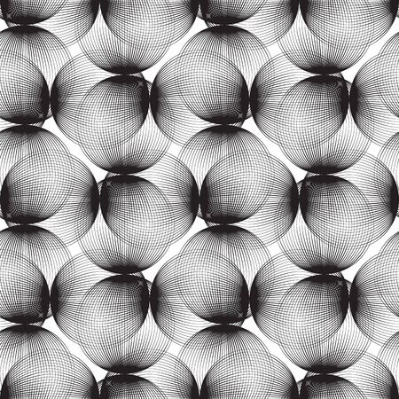 Abstract linear spheres seamless pattern. Monochrome repeatable modern design with bubbles. Geometric circles background. Vectores