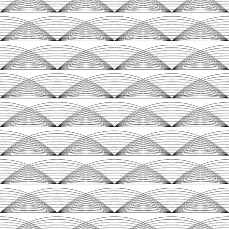 Seamless pattern. Regular abstract grid texture. Linear background with wavy lines.