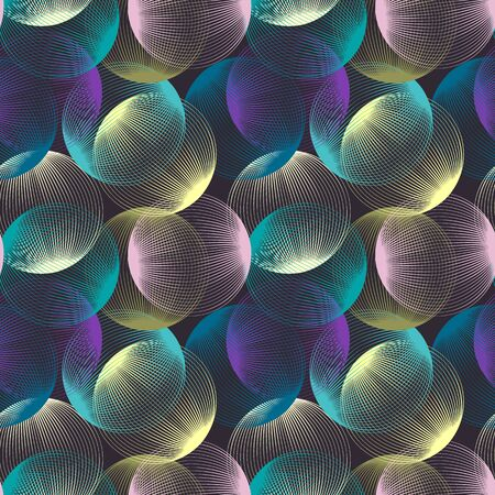 Abstract linear spheres seamless pattern. Colorful repeatable modern design with bubbles. Geometric circles background. Foto de archivo