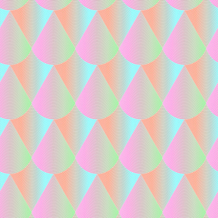 Abstract geometric seamless pattern. Hologram effect regular repeatable background. Texture with bright color scales motif. Colorful gradient backdrop.