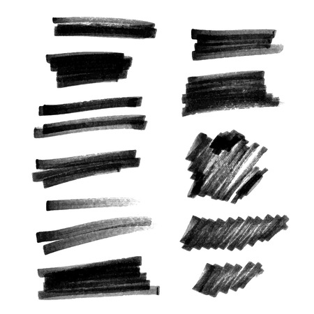Vector set of hand drawn brush strokes and stains. Vectores