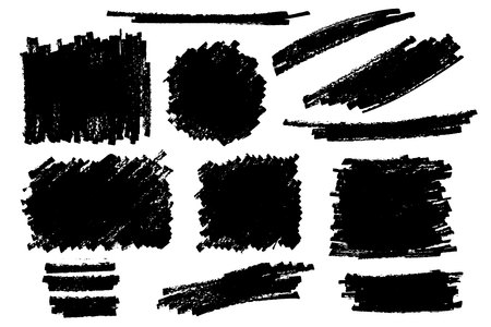 Vector set of hand drawn strokes and stains.