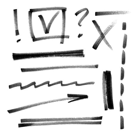 Vector set of hand drawn brush strokes and signs. Foto de archivo