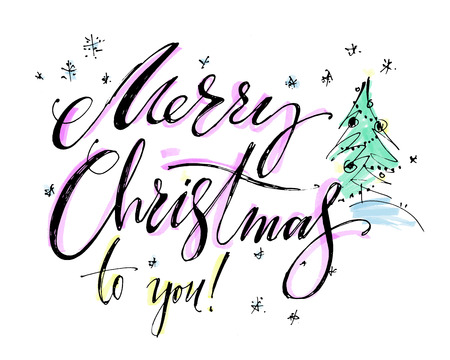 Hand drawn vector lettering. Words Merry Christmas by hand. Isolated vector illustration. Handwritten modern calligraphy. Inscription for postcards, posters, prints, greeting cards.