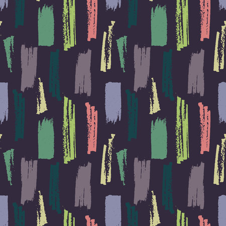 Vector seamless pattern with brush hand drawn strokes in various colors