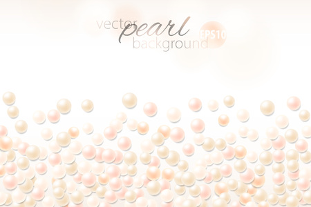 Relistic pearl background. Light backdrop with copy space. Fashionable chic template. Vector illustration. 免版税图像