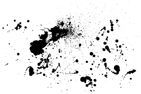 Splatter Paint Texture . Distress rough background . Black Spray Blot of Ink. Abstract vector. Hand drawn. Vettoriali