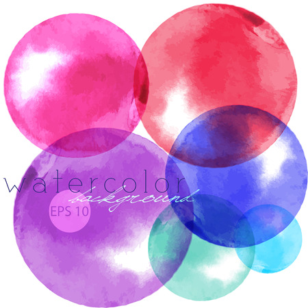 Artistic backdrop painted bubbles, watercolor look vecor image with colorful painted stains.