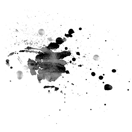 Abstract hand drawn watercolor blot. Artistic vector design element. Grayscale hand painted splashes. Vector illustration.