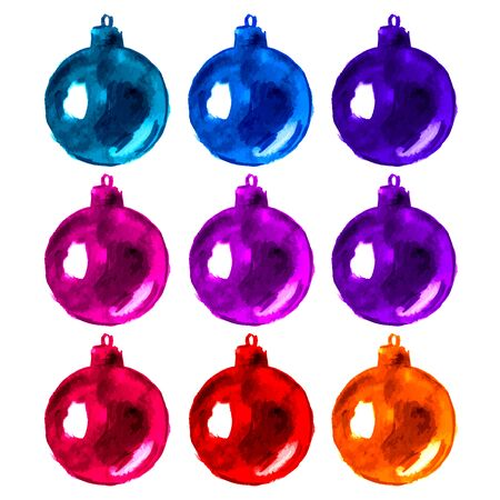 Watercolor hand painted christmas balls, design elements. Artistic background.