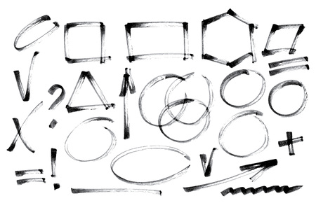 Vector set of hand drawn brush strokes and signs. Vettoriali