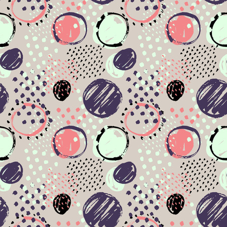 Abstract seamless hand drawn pattern. Modern grunge texture. Colorful graphic pen-brush painted background.