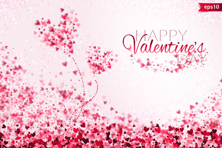 Pink hearts bokeh light Valentines day background. Tender backdrop with gradually changing color hearts.
