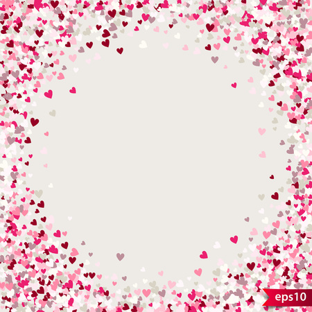 Stipple pattern for design. Colorful minimalist geometric pattern with randomly located small hearts. Red heart glitter background. Gradually changing density backdrop with red and pink hearts. Romantic texture.