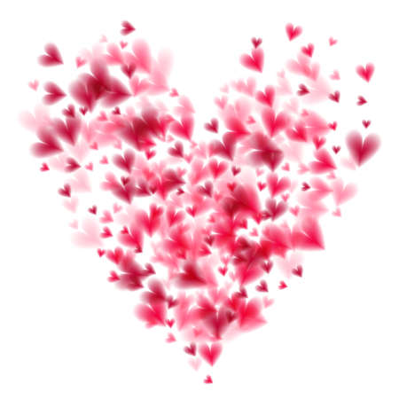 Pink hearts bokeh light Valentines day background illustration. Vectores