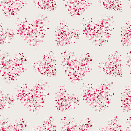 Vector seamless pattern. Backdrop with hearts. Glitter effect romantic background with red and pink tones. Stippled hearts repeated design. Foto de archivo
