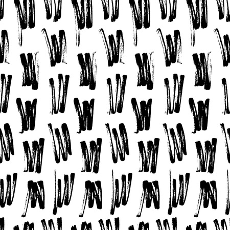 Abstract seamless hand drawn pattern. Modern grunge texture. Monochrome brush painted background. Texture with black strokes.