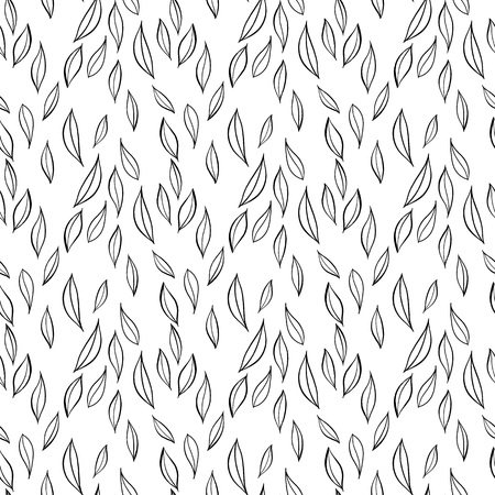Hand drawn simple leaves, botanical pattern. Seamless vector floral pattern. Vector background.