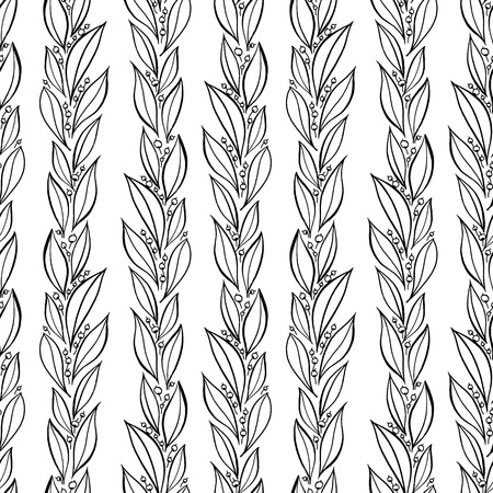 Hand drawn simple leaves, botanical pattern. Seamless vector linear floral pattern. Vector monochrome background.