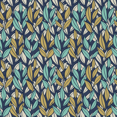 Hand drawn simple leaves, botanical pattern. Seamless vector multi-color floral pattern. Vector background.