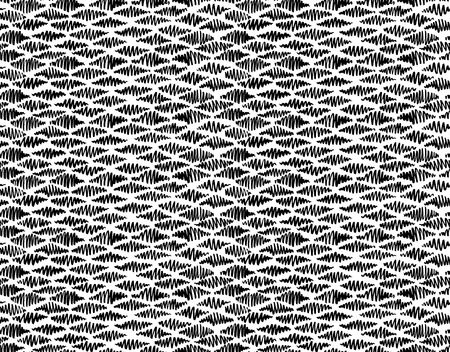 Abstract seamless hand drawn pattern. Modern grunge texture. Monochrome pen-brush painted background. Texture with black strokes in rhombus shape. Vectores