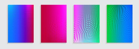 Vector illustration of bright color abstract pattern background with halftone motif for minimal dynamic cover design. Blue, pink, yellow, green placard poster template. Vectores