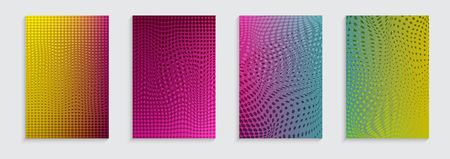 Vector illustration of bright color abstract pattern background with line gradient texture for minimal dynamic cover design. Blue, pink, yellow, green placard poster templates.