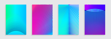 Vector illustration of bright color abstract pattern background with concentric circles for minimal dynamic cover design. Blue, pink, green placard poster templates.