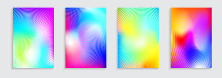 Vector illustration of bright color abstract pattern background with concentric circles and fluid color effect for minimal dynamic cover design. Blue, pink, green placard poster templates.