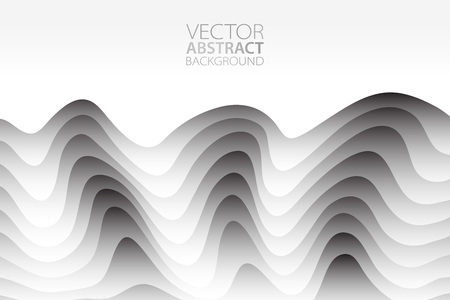 Vector abstract background. Layered effect backdrop. Minimalistic texture with wavy motif. Vectores