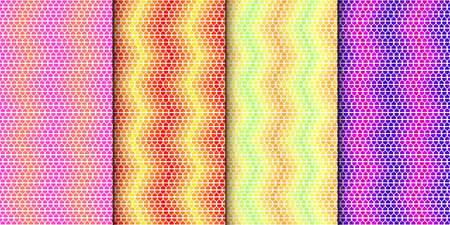 Colorful geometric seamless pattern set. Gradually changing colors. Vector minimalistic background collection with bright colors.
