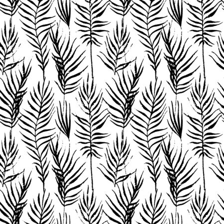 Tropical leaves, jungle pattern. Seamless, detailed, outlined botanical pattern Vector background Vectores