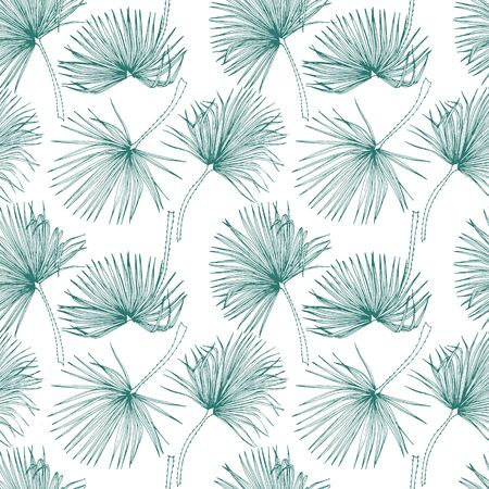 Tropical leaves, jungle pattern. Seamless, detailed, botanical pattern. Vector background. Palm leaves. Vectores