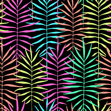 Tropical leaves, jungle pattern. Seamless acid colors botanical pattern. Vector background. Contrast tropical backdrop.