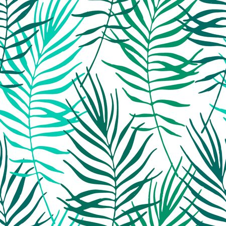 Tropical leaves, jungle pattern. Seamless botanical hand drawn pattern. Vector background. Palm leaves. Vectores