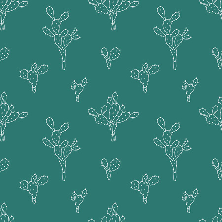 Vector seamless background with cactuses. Opuntia hand drawn design. Vectores