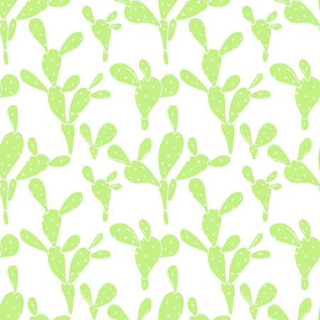 Vector seamless background with cactus. Opuntia hand drawn design.