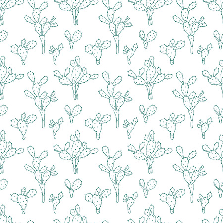 Cactus vector seamless background. Opuntia hand drawn design.