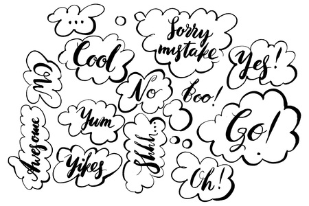 Handwritten exclamation and words inside hand drawn callout clouds. Vector illustration with drawn words. Lettering.