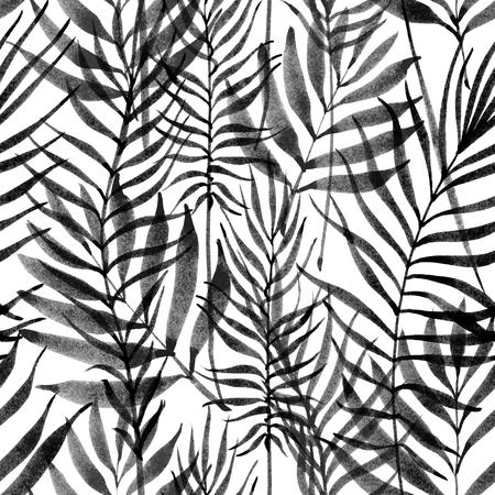 Tropical leaves, jungle pattern. Seamless ink brush botanical pattern. Watercolor monochrome background. Palm leaves. Foto de archivo